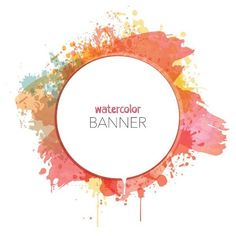 Watercolor Banner Vector Graphic (€7,21) ❤ liked on Polyvore featuring circle, backgrounds, text, borders, circular, effect, picture frame and round