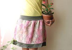 pink lace ruffle skirt stretch tshirt medium by jiorji on Etsy, $35.00