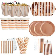 Rose Gold Party Disposable Tableware Champagne Cups Plate Straws 1st Kids Birthday Party Baby Shower Wedding Decoration Supplies Happy Birthday Decor, Birthday Party Decorations For Adults, Gold Party Decorations, Adult Birthday Party, 60 Birthday, Happy Party, Baby Shower Party Favors, Bridal Shower Party, 60th Birthday Balloons