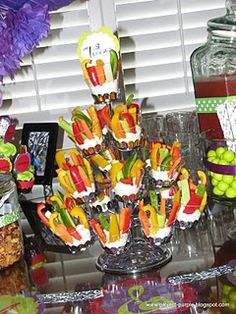 "veggie ""tray"" in cupcake display"