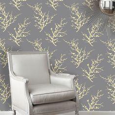 Edie Repositionable Self Adhesive Wallpaper - Lemon Ash