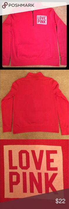 Victoria's Secret Pink Quarter-Zip Pullover The Quarter-zip pullover you love❣️with a mock-neck and slightly over-sized fit.  Size M.  ❣️Bright coral / watermelon color.               ❣️Slightly over-sized. fit.              ❣️Super soft fleece.                          ❣️Kangaroo pockets. PINK Victoria's Secret Tops Sweatshirts & Hoodies