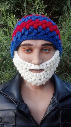 Red and Blue Bearded Beanie w/ Detachable by HolyNoggins on Etsy, $35.00
