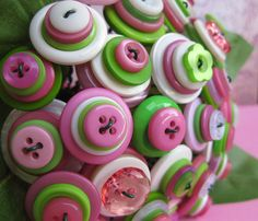 Pink and Green 30 Stem Button Bouquet by rbkcreations, via Flickr