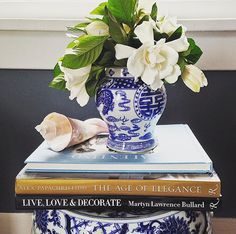 Blue and white combined with gardenias! A perfect spring vignette.