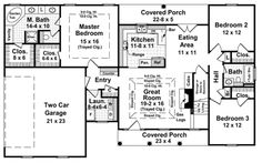 floor plans with 2000 square feet | House Plan - 3 Beds 2 Baths 1800 Sq/Ft Plan #21-328 Main Floor Plan ...