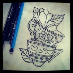 Stacked tea cup tattoo. Perfect for the work I want done to commemorate my grandma and I's relationship!