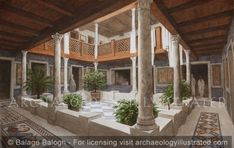 Ephesus, Late Roman Period Terrace House #2, the Peristyle Courtyard in Private Home 3-4th century AD – Archaeology Illustrated Rome Architecture, Ancient Greek Architecture, Minecraft Architecture, Ancient Roman Houses, Ancient Rome, House 2, Between Two Worlds, Greek House, Ephesus