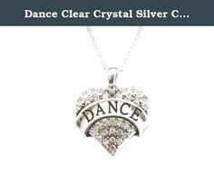 """Dance Clear Crystal Silver Chain Heart Fashion Necklace Jewelry. Show your love for dancing with this exquisite Dance Heart Necklace. Shine bright and share what you love, or who you love with this head-turning and stylish necklace. This Silver Plated Dance Heart Charm speaks to your passion. If you or someone special in your life loves to dance, this necklace is yours for the ordering! Featuring a Silver Plated Heart Charm Engraved with the word """"Dance"""" adorned with brilliant clear…"""