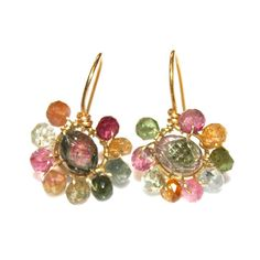 Carved #Watermelon #Tourmaline Slice #Earrings Gold #Hoop #Rainbow #Jewelry by FizzCandy, $85.00