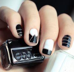 Essie black and white nail art Get Nails, Love Nails, Pretty Nails, Hair And Nails, Fancy Nails, Style Nails, Gorgeous Nails, White Nail Art, White Nails