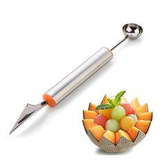 Authentic Melon Baller,2 in 1 Strainless Steel Melon Baller Fruit Carving Knife Kitchen Tool for DIY Fruit Salads,Desserts,ice Cream Scooper, ,