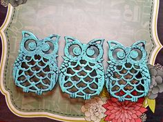 Turquoise Owl Coasters  Set of 3  Upcycled by StrawberryFieldsCo, $16.00