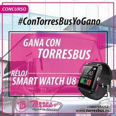 Concurso con TorresBus yo gano!! siguenos en redes sociales Golf Clubs, Smart Watch, Madrid, Socialism, Social Networks, Smartwatch