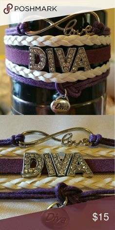 New Diva Bracelet Metal Alloy Material Wax Cord Faux leather Lobster Clasp Adjustable One size fits most Charms Diva  Price is based off the rhinestone letters and charm thank you Jewelry Bracelets