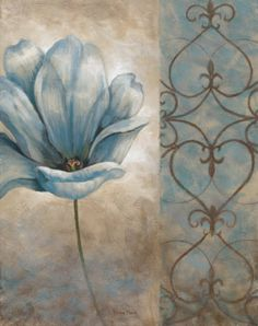 Vivian Flasch Fleur Bleue II painting is shipped worldwide,including stretched canvas and framed art.This Vivian Flasch Fleur Bleue II painting is available at custom size. Vintage Pictures, Vintage Images, Decoupage Paper, Paper Background, Vintage Flowers, Flower Art, Paint Colors, Wall Colors, Art Decor