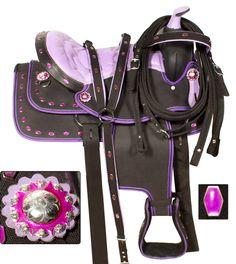 Purple Crystal Western Synthetic Horse Saddle 15