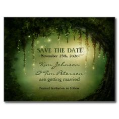Enchanted Dreamy Forest Rustic Postcard Save Date
