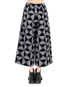 MARIOS Wide leg trousers drawstring waist grey and black variant gabardine fabric 91% PL 9% PU