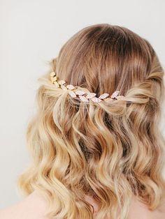 Bridal Hair Vine | Gold Leaf Hair Comb | Wedding Hair Piece | Grecian Headpiece | Golden Vine Hairpiece [Petite Gilded Ivy Hair Vine]