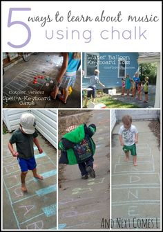 5 ways for kids to learn about music using chalk from And Next Comes L