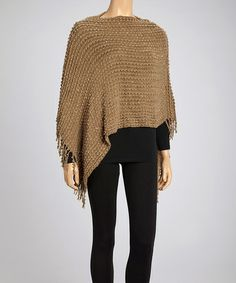 Take a look at this Camel Knit Sequin Poncho by SR Fashions on #zulily today!
