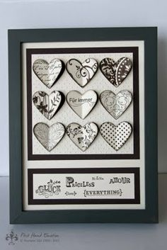 Stampin' UP! Herzstanze Espresso I love the variety of stamped images that were cut with the Hearts a Flutter framelits. Nice job! :D