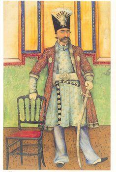 ناصرالدین شاه، هنرمند نامشخص، تهران، حدود ۱۸۵۵، آبرنگ مات و شفاف روی کاغذ، ۱۹.۲*۲۹.۸
