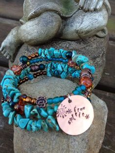 Free Spirit thee wrap memory wire bracelet with by DFInspirations, $30.00  - squish up fabric to create same idea