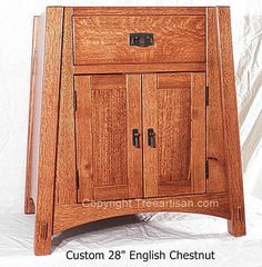 Quarter Sawn Oak Amish Mccoy Mission Vanity Bathroom Sink Cabinet FREE SHIPPING !!! We have up for sale a magnificent craftsman custom made solid quarter sawn oak vanity bathroom sink cabinet made in the amish mccoy arts and crafts mission style made in USA. This is a original one of a kind TreeArtisan designed piece ,signed and dated .Available in 26 different stains in minwax color chart above .We will also install the hardware of your choice as well up to $50 ,hardware costs over $50…