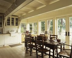 www.faceyourkitchen.com Love all the windows in this kitchen/dining area