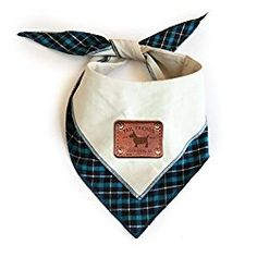 Tail Trends Reversible Dog Bandana with Leather Patch Fits Most Medium to Large Breeds, Natural (Large)