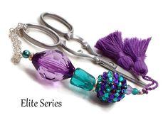 Teal Green Purple Scissor Fob Beaded Scissor Keeper by TJBdesigns