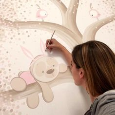 Baby Room Paintings, Baby Painting, Cute Paintings, Country Paintings, Painting For Kids, Drawing For Kids, Kids Wall Murals, Mural Art, Baby Canvas