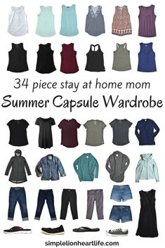 Summer Capsule Wardrobe: Stay-At-Home-Mom 2017 Summer Capsule Wardrobe Summer Capsule Wardrobe - 2017 stay at home mom summer capsule wardrobe. A look inside my minimalist wardrobe. Capsule Wardrobe Mom, Mom Wardrobe, Winter Wardrobe, Summer Wardrobe, Capsule Clothing, Capsule Outfits, Wardrobe Basics, Wardrobe Ideas, Minimalist Wardrobe