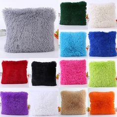 "18"" Soft Fur Plush Square Throw Pillow Cases Home Decor Sofa Waist Cushion Cover #Unbranded"