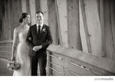 Golden B.C. Wedding, Bride and Groom on Bridge, Kicking Horse Mountain Resort Wedding Photographer
