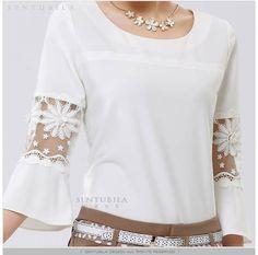 2014 New Womens Chiffon Lace Hollow Crew Neck Casual Shirt Blouse Plus Size Tops White Chiffon Blouse, Chiffon Shirt, Frill Blouse, Umgestaltete Shirts, Shirt Blouses, Plus Size Tops, Plus Size Blouses, Blouse Styles, Blouse Designs