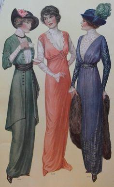 1914 Edwardian Dress Fashion Page by Augusta Reimer Mary Anderson De Navarro | eBay