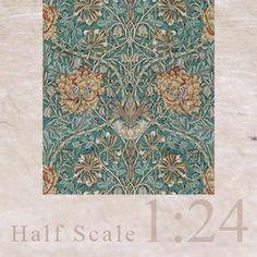 "3x Wallpaper ""Hamilton"" (blue teal) 1/24"