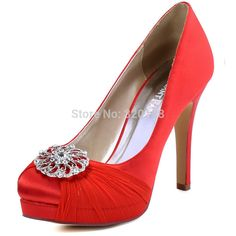 HC1609P Woman High Heel Platform Pump Red Size 5 6 Bridal Wedding Shoes  Closed Toe Buckle Chiffon Lady Prom Party Pumps  weddings  weddingshoes   sandals ... 911cedcc65b9