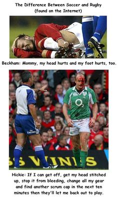 the difference between rugby and soccer.I guess I should've been a rugby player, lol Rugby Sport, Rugby Vs Football, Rugby Gear, Football Memes, Football Boots, College Football, Rugby League, Rugby Players, Football Players