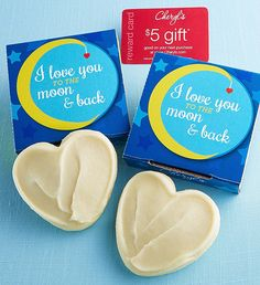 Love You to the Moon and Back Cookie Card | Just Because Gifts | Cheryls.com |Send your love with an individually wrapped buttercream frosted cut-out cookie tucked inside a cheerful gift box!