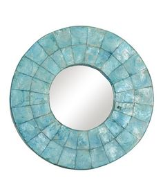 This Aqua Cameron Round Mirror by Jeffan is perfect! #zulilyfinds...Brighten interiors and accent the décor with this unique mirror featuring a frame of mosaic tiles made of capiz shell. •12'' diameter •Capiz shell / glass •Imported ...$60/$126