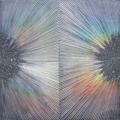 by Sylvia Hommert (hologram paper, beeswax, aquatint, glitter & resin on birch)