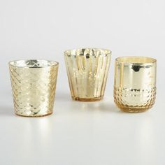 One of my favorite discoveries at WorldMarket.com: Gold Mercury Glass Votive Candleholders Set of 3