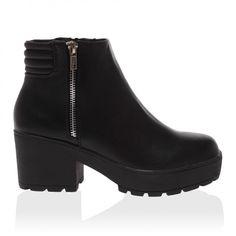 Aubrey Black PU Mid Heel Boots