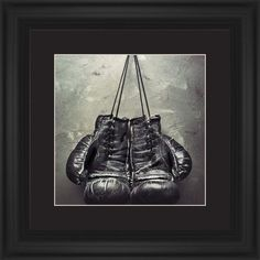 Boxing Gloves Framed Print, Black, Classic, Cream, Black, Single piece, 12 x 12 inches, White