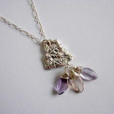 Silver Leaf Necklace Ametrine Necklace Boho Extra by OneLoomStudio, $100.00