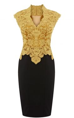 Fashion Pretty Karen Millen DN038 Beautiful cotton lace pencil dress yellow Vouchers,Karen Millen UK